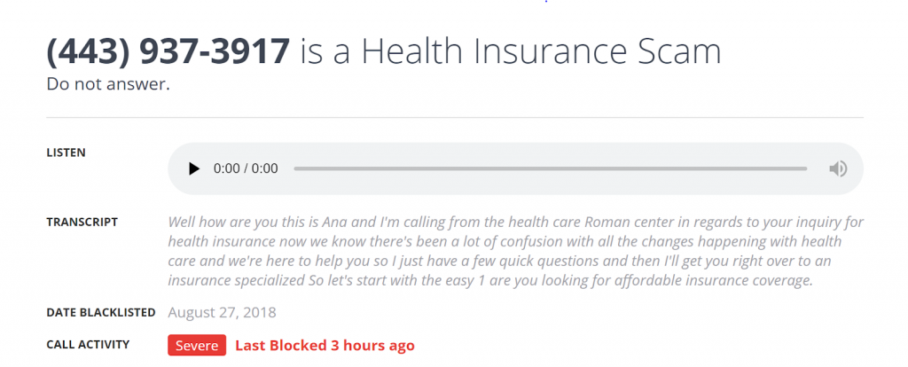 health insurance phone spam